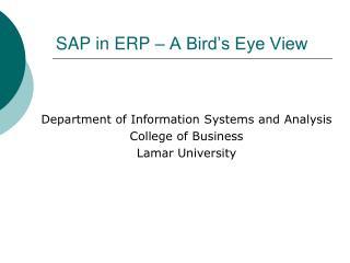 SAP in ERP – A Bird's Eye View