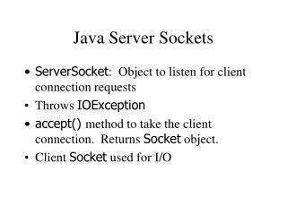 Java Server Sockets