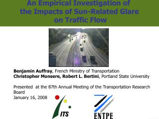 An Empirical Investigation of  the Impacts of Sun-Related Glare  on Traffic Flow