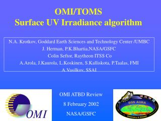 OMI/TOMS Surface UV Irradiance algorithm