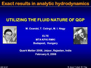 Exact results in analytic hydrodynamics