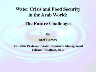Water Crisis and Food Security in the Arab World: The Future Challenges