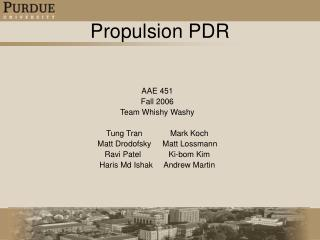 Propulsion PDR