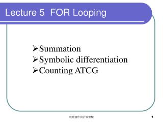 Lecture 5  FOR Looping