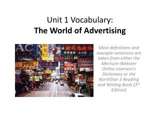 Unit 1 Vocabulary: The World of Advertising