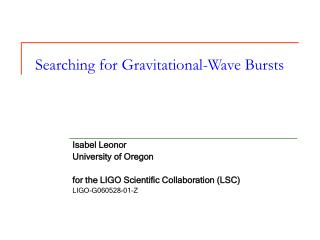 Searching for Gravitational-Wave Bursts