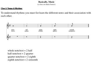 Basically, Music (a class on music basics) Class 2: Tempo & Rhythms