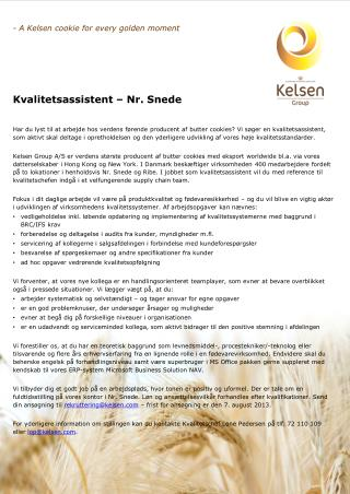- A  Kelsen  cookie for every golden moment Kvalitetsassistent � Nr. Snede