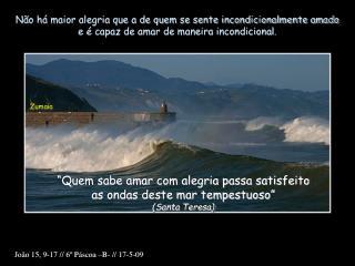 """""""Quem sabe amar com alegria passa satisfeito as ondas deste mar tempestuoso"""" (Santa Teresa)"""