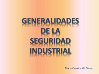 GENERALIDADES DE LA SEGURIDAD INDUSTRIAL