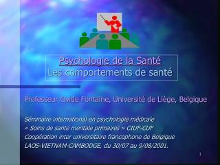 Psychologie de la Sant  Les comportements de sant