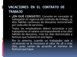 VACACIONES EN EL CONTRATO DE TRABAJO