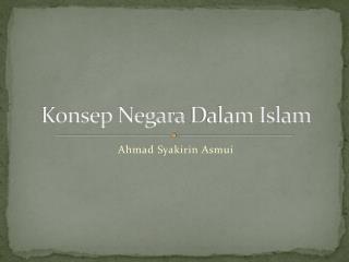 Konsep  Negara  Dalam  Islam