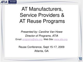AT Manufacturers,  Service Providers &  AT Reuse Programs