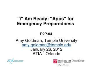 """i"" Am Ready: ""Apps"" for Emergency Preparedness P2P-04"
