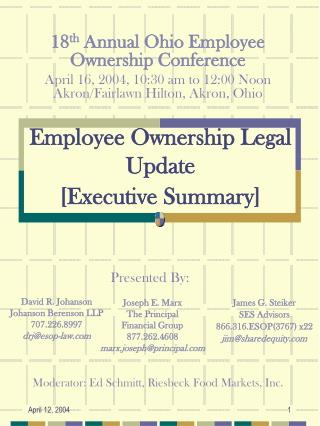 Employee Ownership Legal Update [Executive Summary]