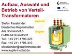 Aufbau, Auswahl und Betrieb von Verteil-Transformatoren
