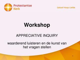 Workshop   APPRECIATIVE INQUIRY waarderend luisteren en de kunst van het vragen stellen