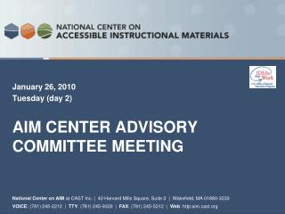 AIM Center Advisory Committee Meeting
