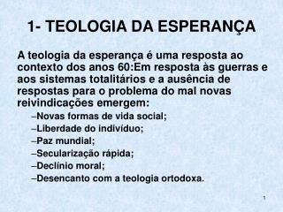 1- TEOLOGIA DA ESPERANÇA