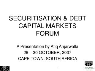 SECURITISATION & DEBT CAPITAL MARKETS FORUM