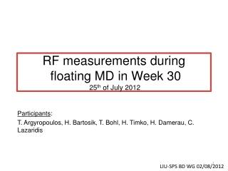 RF measurements during  floating MD in Week 30  25 th  of July 2012