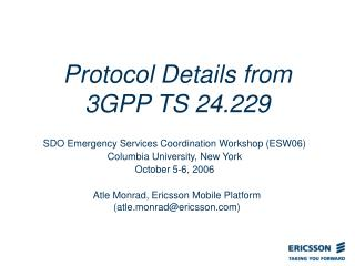 Protocol Details from  3GPP TS 24.229
