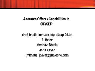 Alternate Offers / Capabilities in  SIP/SDP