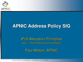 APNIC Address Policy SIG