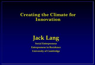 Creating the Climate for Innovation
