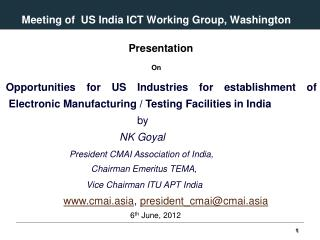 Meeting of  US India ICT Working Group, Washington