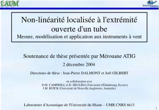 Soutenance de thèse présentée par Mérouane ATIG