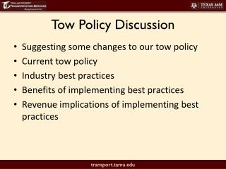Tow Policy Discussion