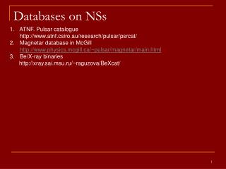 Databases on NSs