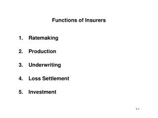 Functions of Insurers
