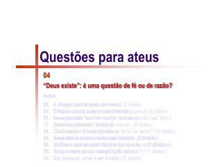 Questões para ateus