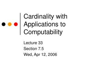 Cardinality with Applications to Computability