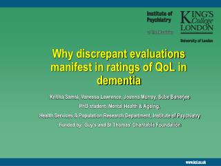 Why discrepant evaluations manifest in ratings of QoL in dementia
