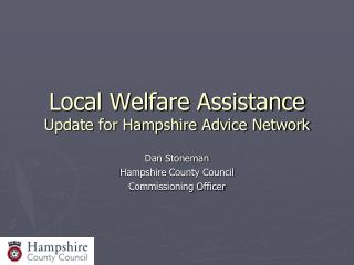 Local Welfare Assistance Update for Hampshire Advice Network