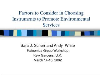 Factors to Consider in Choosing Instruments to Promote Environmental Services