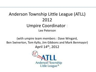 ATLL Umpire Workshop