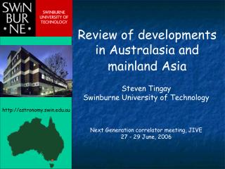 Review of developments in Australasia and mainland Asia