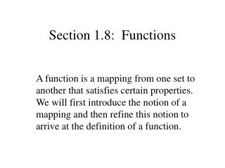 Section 1.8:  Functions