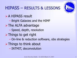 HIPASS –  RESULTS & LESSONS