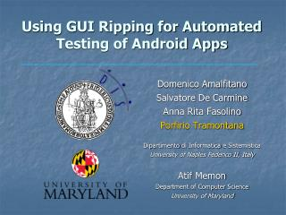 Using GUI Ripping for Automated Testing of Android Apps