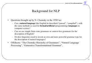 Background for NLP