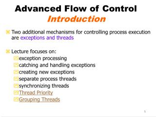 Advanced Flow of Control Introduction