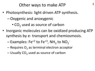 Other ways to make ATP