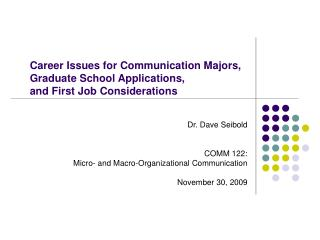 Career Issues for Communication Majors, Graduate School Applications, and First Job Considerations