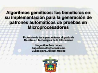 Protocolo de tesis para obtener el grado de Maestro en Tecnologías de la Información